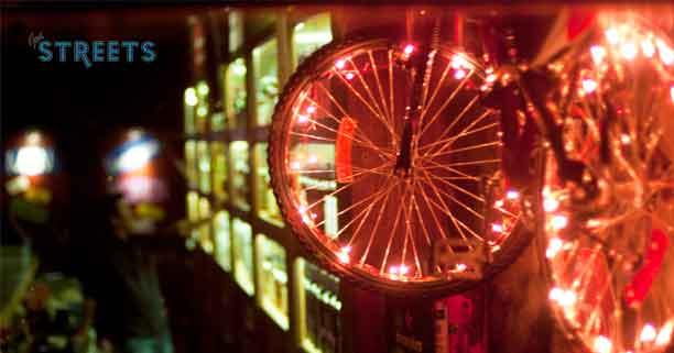 A-neon-lit-bike-for-interior-decoration